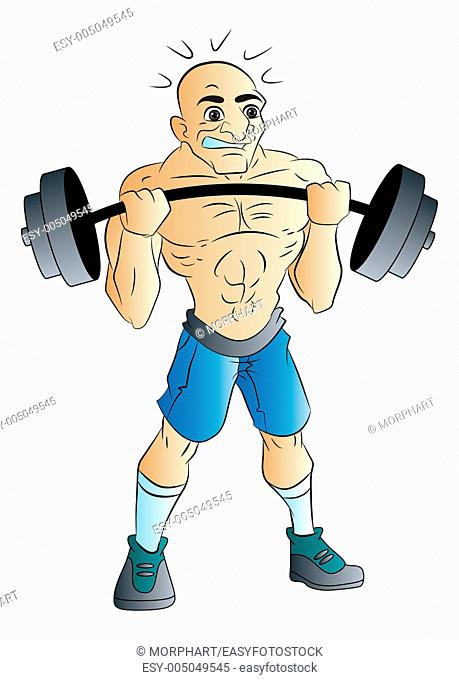 Bald Male Weightlifter, vector illustration