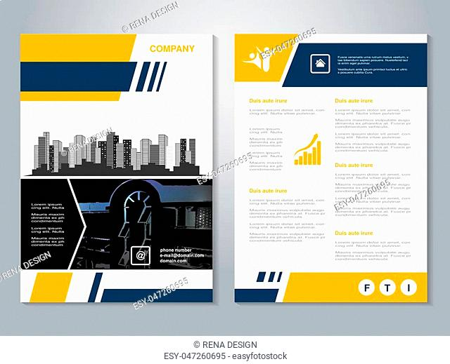 Vector modern brochure, abstract flyer with background of buildings. City scene. Layout template. Aspect Ratio for A4 size