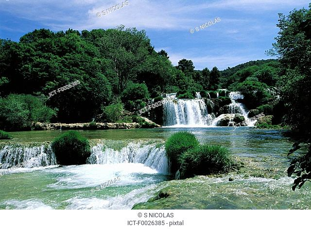 Croatia, Dalmatia, Krka National Park, waterfalls