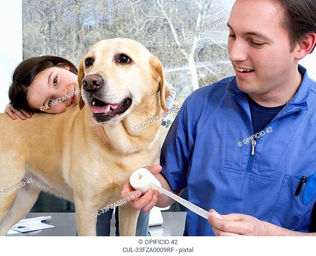 Vet working with girl and her dog