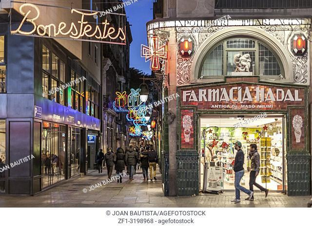 La Rambla, street view scene, christmas decoration, Barcelona