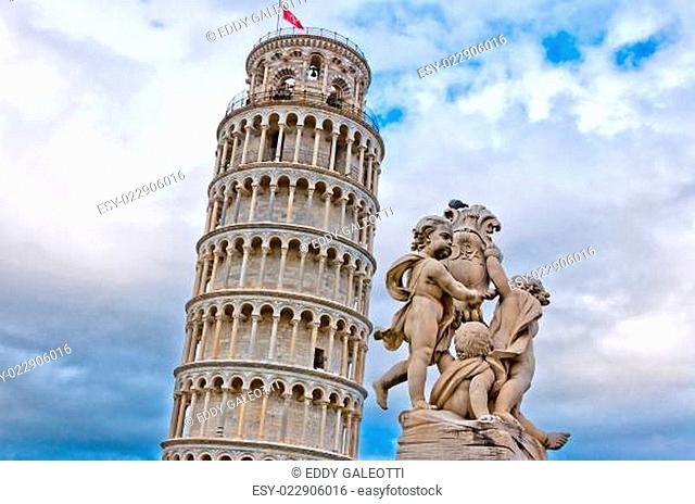 Leaning Tower of Pisa with angels statue, Tuscany - Italy