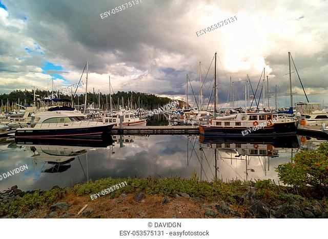 Boat Slips at Port of Anacortes Cap Sante Marina on Fidalgo Island in Washington State on a cloudy day