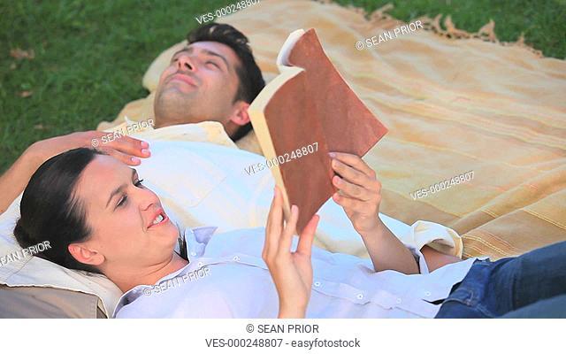 P?rchen liegt in der Wiese. Sie mit ihrem Kopf auf seinem Bauch und liest ihm vor