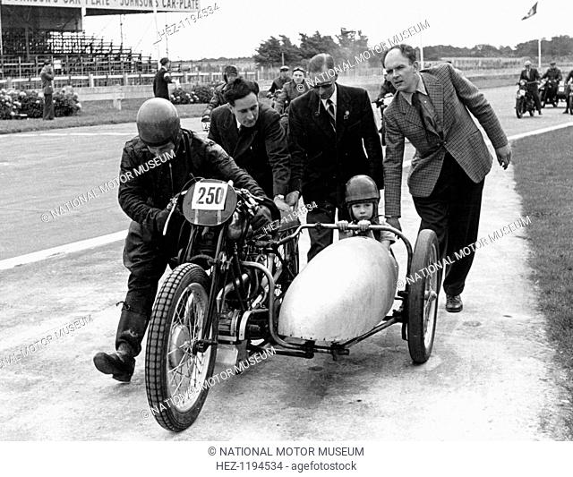 1930 Brough Superior at the VSCC (Vintage Sports Car Club) 21st birthday party, 1955. Described by The Motor Cycle magazine as 'The Rolls-Royce of Motor Cycles'
