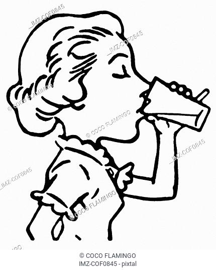A black and white version of a line drawing of a woman enjoying a refreshing drink