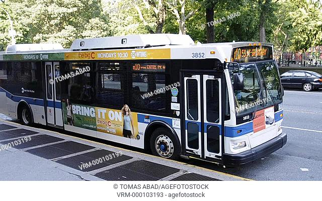 MTA public bus, Central Park West, New York City