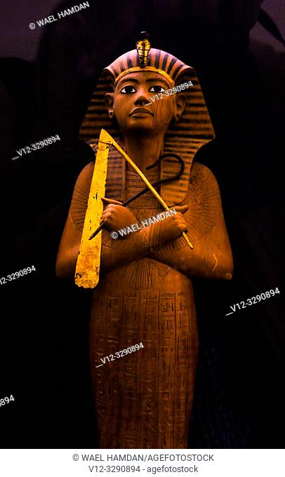 Ushabti figure from the tomb of Tutankhamen at museum. Egypt