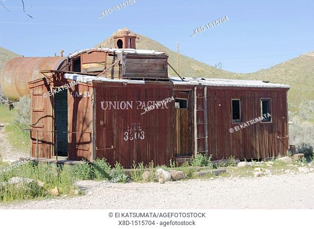 Vintage Union Pacific rail car at Rhyolite ghost town just west of Beatty near Death Valley, Nevada