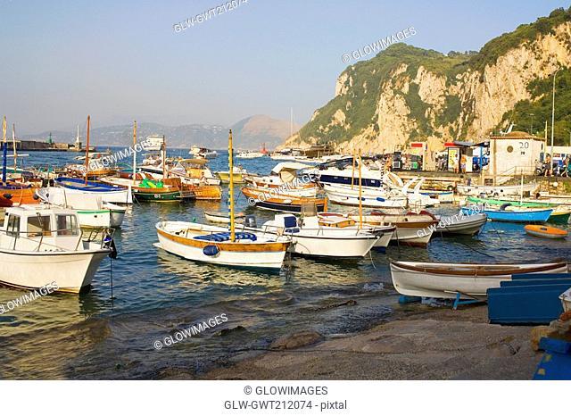 Boats at the dock, Marina Grande, Capri, Campania, Italy