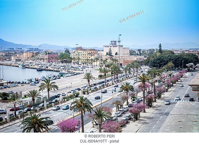 Roads and buildings around marina, Cagliari, Sardinia, Italy