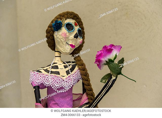 Skeleton is dressed up for the Day of the Dead (Dia de Muertos) in Oaxaca City, Mexico
