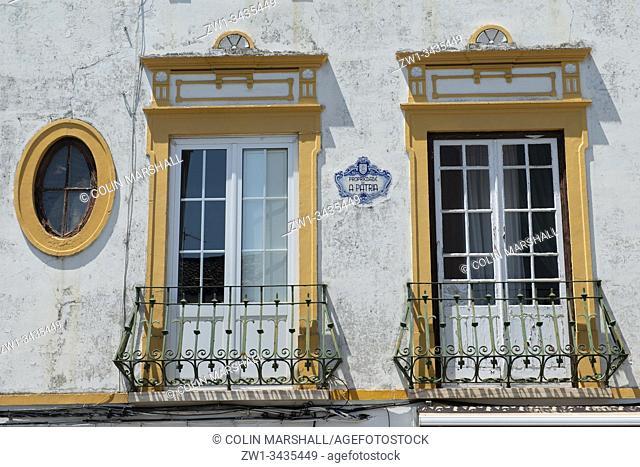Azulejo tile between and balconies, Évora, Alentejo, Portugal, Europe