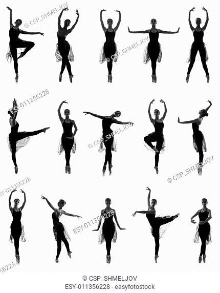 Set of different ballet poses. Black and white traces isolated on white