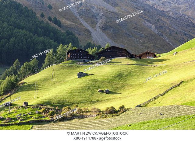 Mountain farm Tisenhof in valley Schnalstal val senales, South Tyrol  Europe, Central Europe, Austria, Tyrol, September