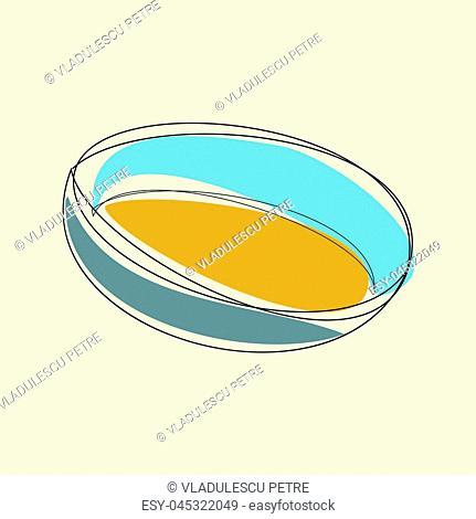 blue kitchen bowl on a beige background