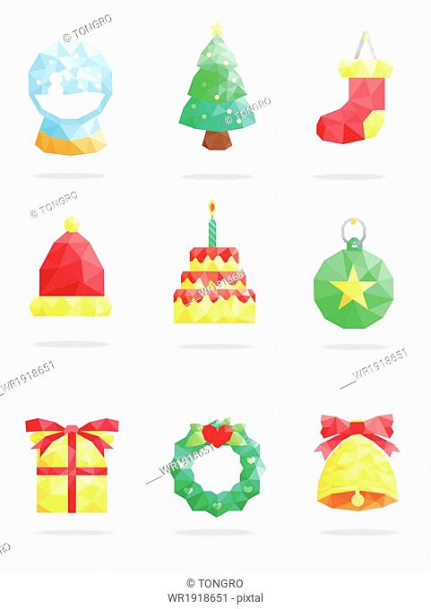 a set of items related to Christmas