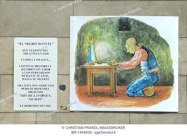 Praying man, painting, Basilica Nacional Nuestra Senora de Lujan, Argentina, South America