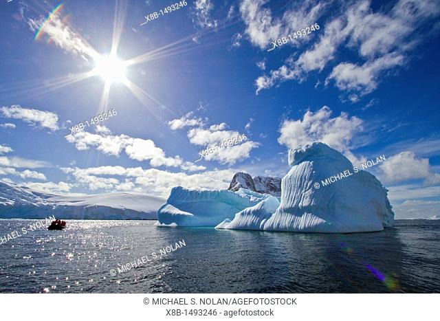 Iceberg in Lemaire Channel on the western side of the Antarctic Peninsula during the summer months, Southern Ocean  MORE INFO An increasing number of icebergs...