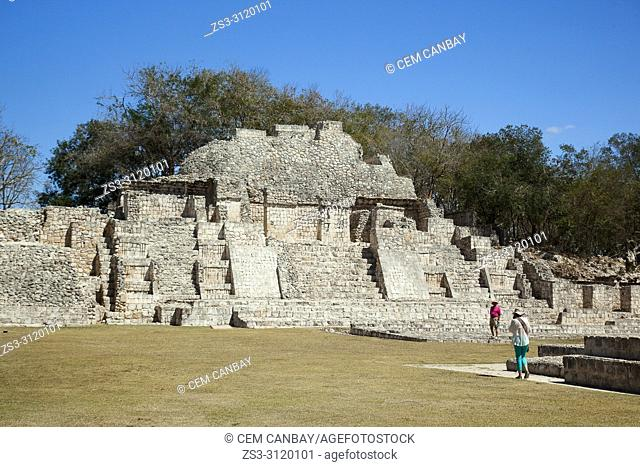 Tourists in front of the Templo Del Norte at Gran Acropolis in Edzna Mayan Archaeological Site, Campeche State, Mexico, Central America