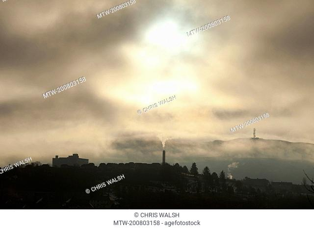 Silhouette smog pollution town chimney smoke