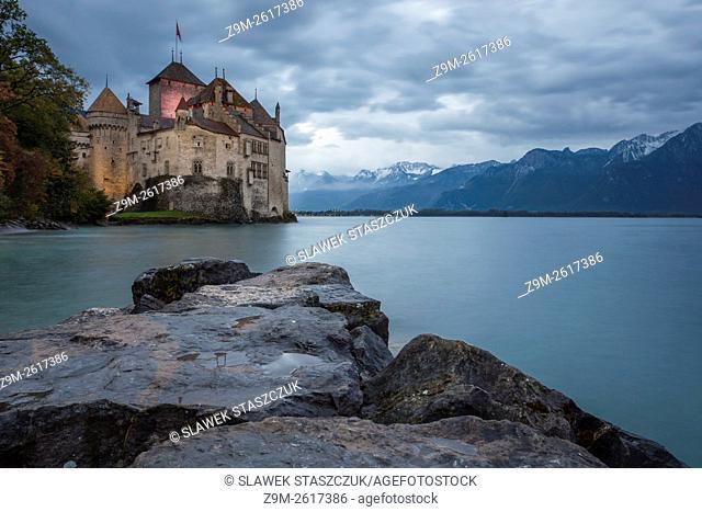 Dusk at Chillon castle on Lake Geneva near Veytaux, canton Vaud, Switzerland