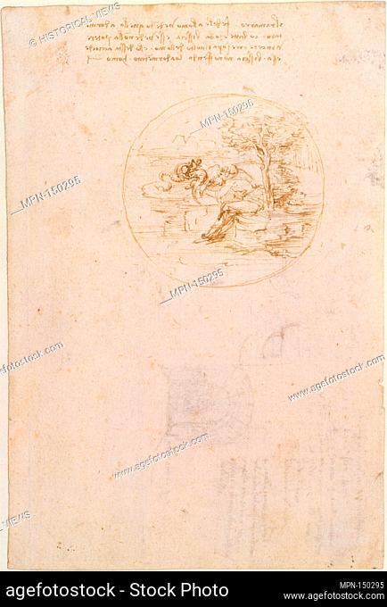 Allegory on the Fidelity of the Lizard (recto); Design for a Stage Setting (verso). Artist: Leonardo da Vinci (Italian, Vinci 1452-1519 Amboise); Date: 1496;...