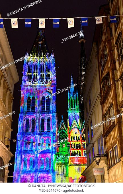 light show projected on Notre Dame Cathedral in Rouen, presentation celebrates Impressionism, Rouen is near Giverny which boasts Claude Monet's beautiful...