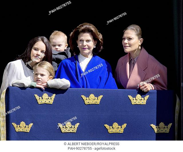 Queen Silvia, Crown PrincessVictoria, Princess Estelle, Prince Oscar and Princess Sofia of Sweden at the Royal Palace in Stockholm, on April 30, 2017