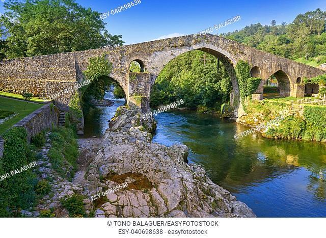Cangas de Onis roman bridge on Sella river in Asturias of Spain