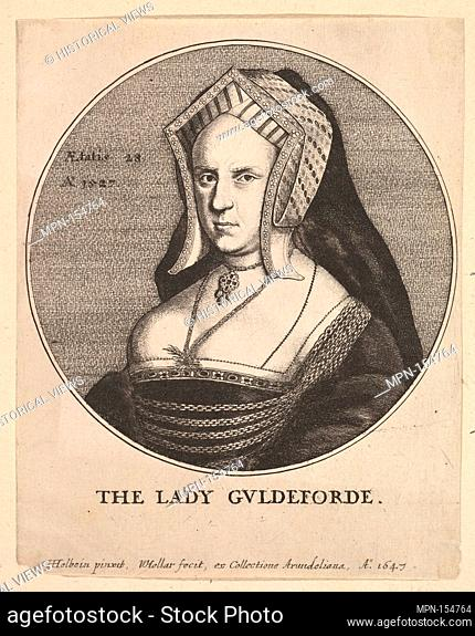 The Lady Guldeforde (Mary, Lady Guildford). Etcher: Wenceslaus Hollar (Bohemian, Prague 1607-1677 London); Artist: After Hans Holbein the Younger (German