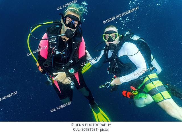 Scuba divers in Indian Ocean, Maldives