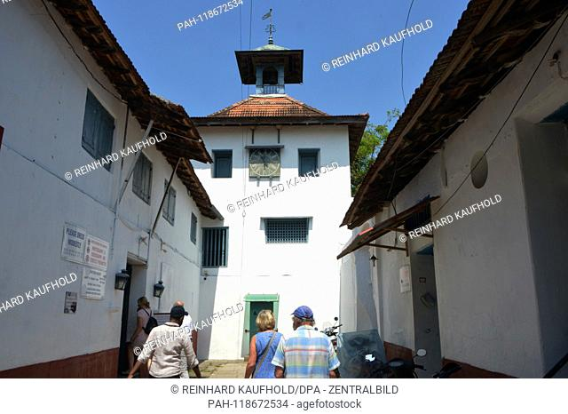 View on the bell tower of the 1344 built Paradresi Synagogue in the Jewish quarter in Kochi (Cochin) in the south of India, recorded on 14.02