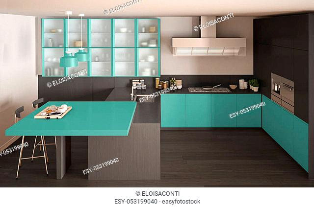 Classic minimal gray and turquoise kitchen with parquet floor, modern interior design