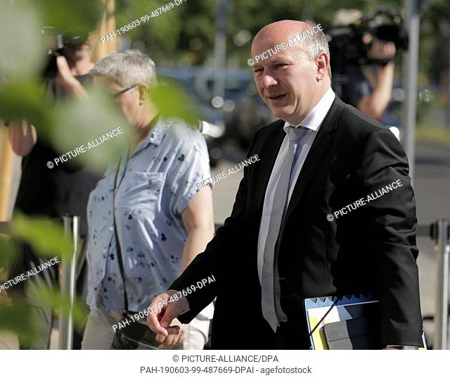 03 June 2019, Berlin: Kai Wegner (CDU), Berlin state leader of his party, comes to the end of the closed meeting of the CDU federal executive