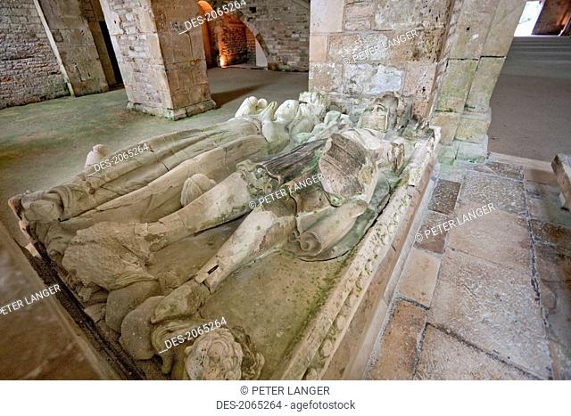 Tomb Of Mello And His Wife Deposited In The Abbey Church Of The Cistercian Abbey Of Fontenay, Cote D'or, France