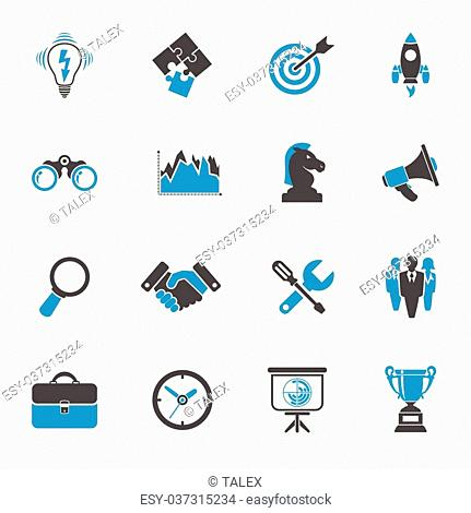 Business Icon Set - Finance, Strategy, Idea, Research, Teamwork, Success. Vector in two color isolated on white background