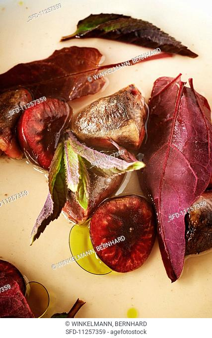 Roasted pigeon hearts with cherries
