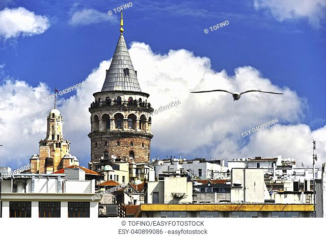 Galata Tower called also the Tower of Christ is a medieval stone tower in the Galata quarter of Istanbul, Turkey,