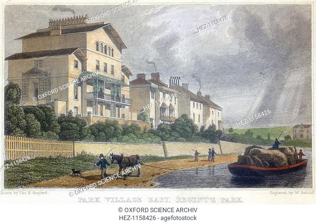 Horse hauling a barge on the Regent's Canal at Park Village East, London, 1829. The Regent's Canal, connecting the Paddington Canal and the Thames at Limehouse
