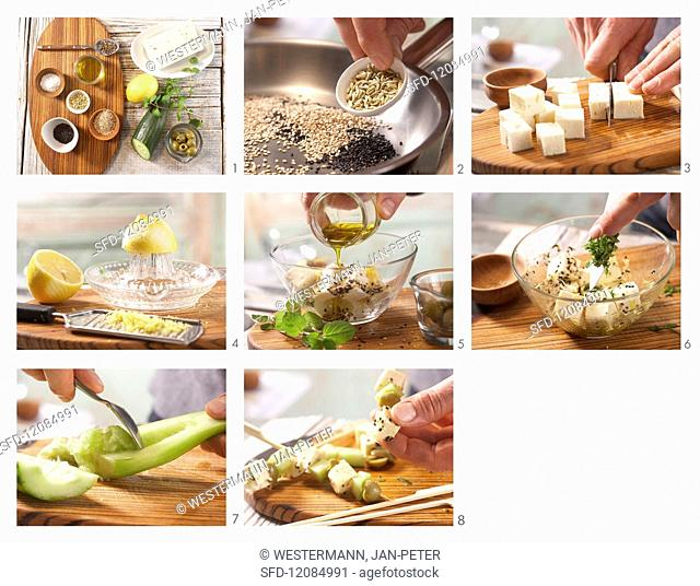 How to prepare sheep's cheese kebabs with spicy herb oil