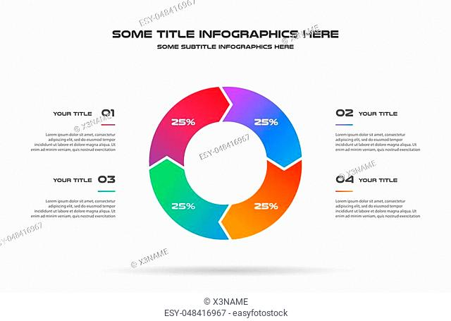 Pie chart of percentage infographics. Element of graph, diagram with 4 options - parts, processes, timeline. Vector business template for presentation