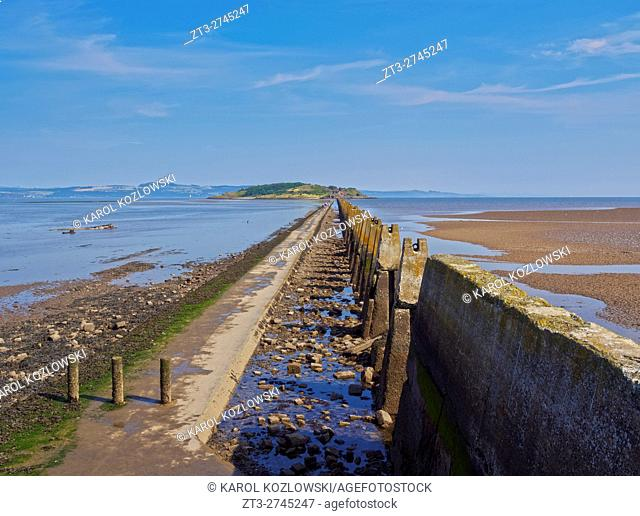 UK, Scotland, Lothian, Edinburgh Area, Cramond, Causeway and Pylons leading to the Cramond Island at low tide.