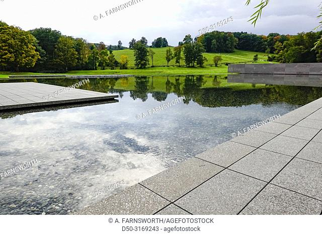 Williamstown, Massachusetts, USA A reflecting pool at the Clark Art Institute