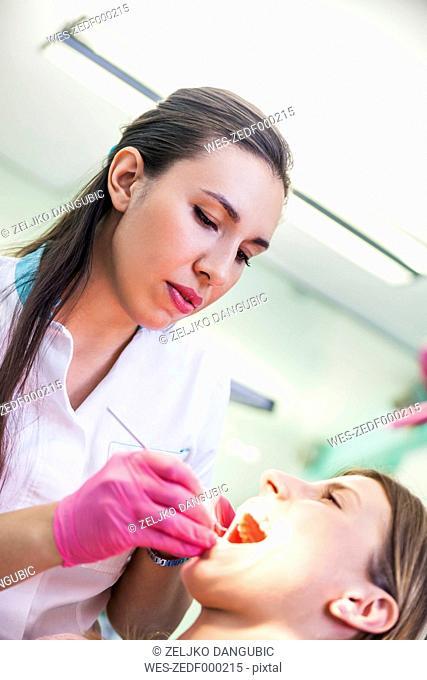 Patieint receiving treatment at the dentist