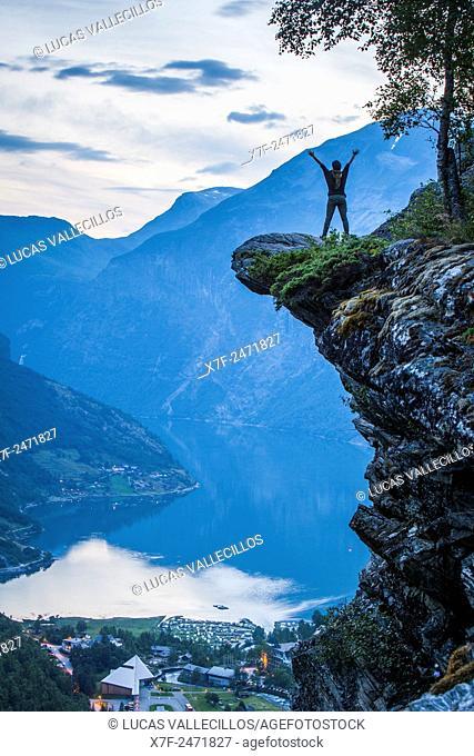 Geiranger and Geirangerfjord from Flydalsjuvet gorge, More og Romsdal, Norway