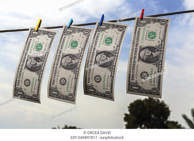 Sky money laundering concept Stock Photos and Images | age