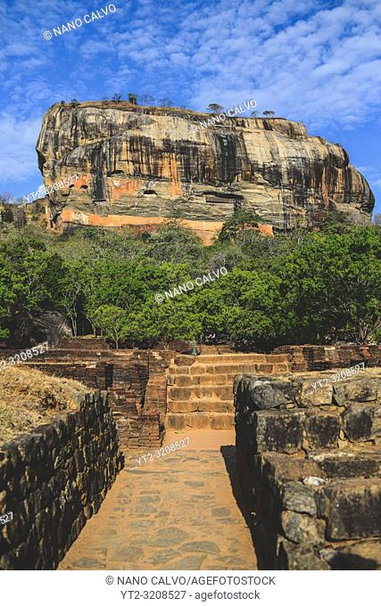 Sigiriya or Sinhagiri, ancient rock fortress located in the northern Matale District near the town of Dambulla in the Central Province, Sri Lanka