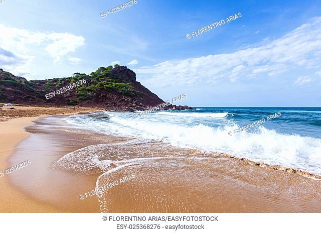 Sunny and beautiful day in Cala del Pilar, Minorca, Balearic Islands, Spain