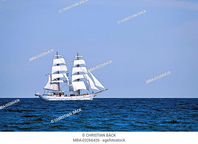 Sailing ship in the Kiel Fjord, Kiel, Schleswig - Holstein, North Germany, Germany
